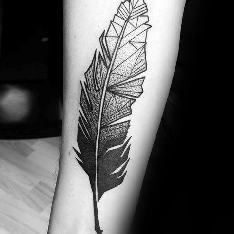 Manly Geometric Feather Tattoo Forearm Design Ideas For Men