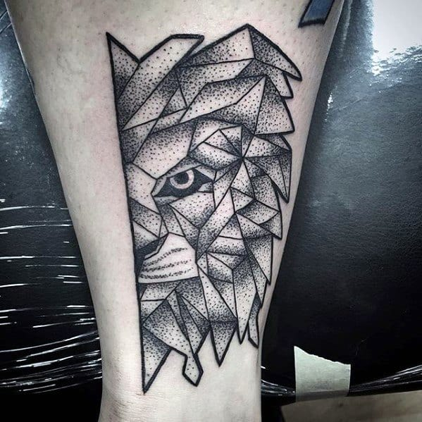 Manly Geometric Lion Tattoo Design Ideas For Men