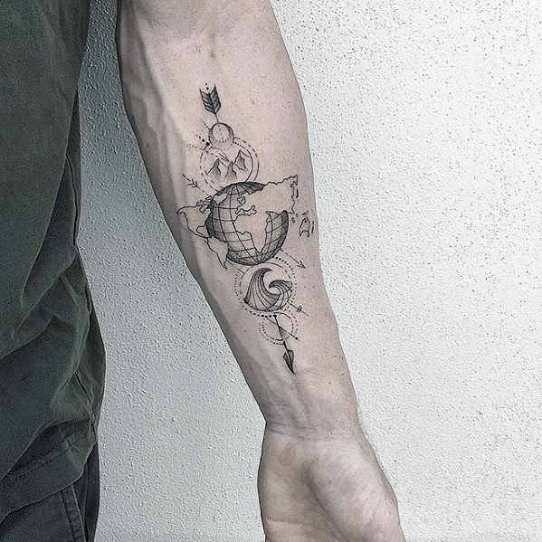 Manly Geometric Map With Globe And Arrow Forearm Tattoo Design Ideas For Men