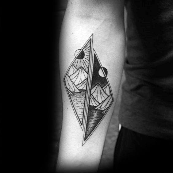 Manly Geometric Mountain Tattoo Design Ideas For Men