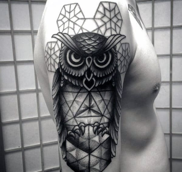 579950c64 80 Geometric Owl Tattoo Designs For Men - Shape Ink Ideas