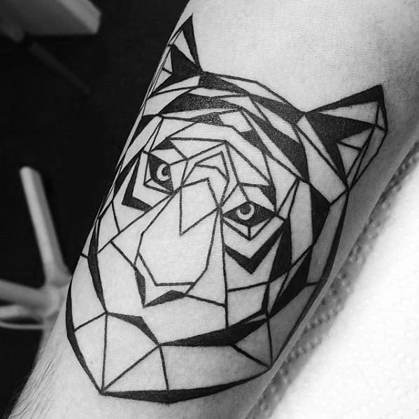 Manly Geometric Tiger Tattoo Design Ideas For Men