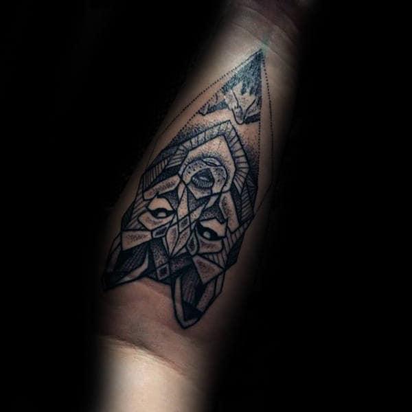 Manly Geometric Wolf Inenr Forearm Tattoos For Gentlemen