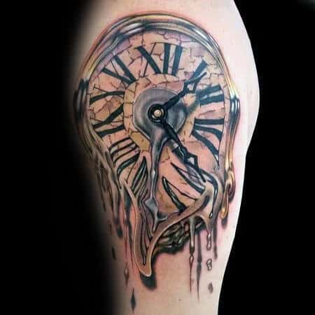 Manly Gold Melting Clock Mens Arm Tattoos