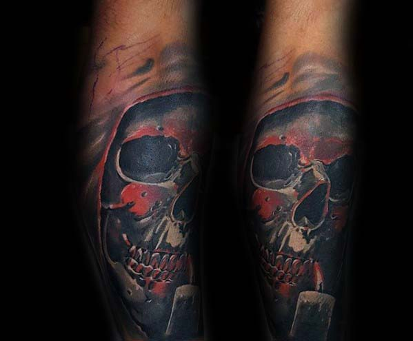 Manly Grim Reaper Skull With Candle Badass Forearm Tattoos For Gentlemen