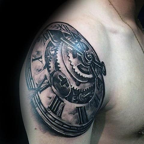Manly Guys 3d Clock Roman Numeral Gear Tattoo On Upper Arm