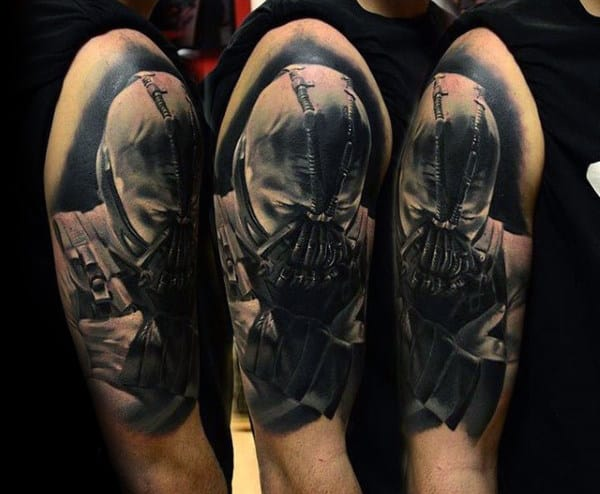 Manly Guys Bane Portrait Arm Tattoo