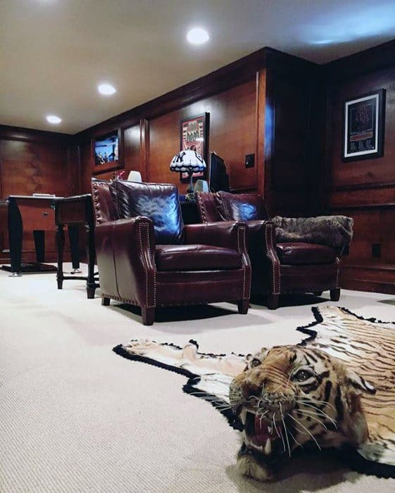 Manly Guys Basement Man Cave With Tiger Rug