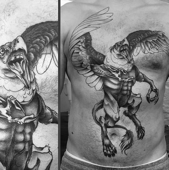 Manly Guys Chest Flying Griffin Tattoos
