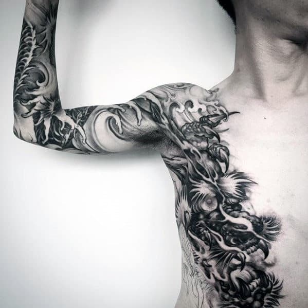 Manly Guys Dragon Arm And Chest Black And Grey Tattoo Ideas