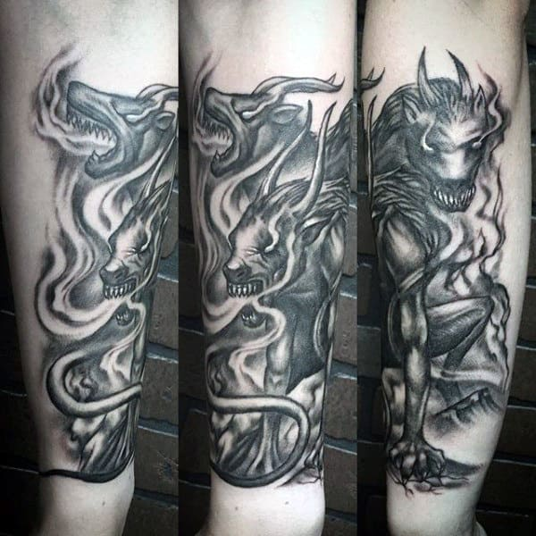 Manly Guys Forearm Cerberus Greek Tattoo Designs