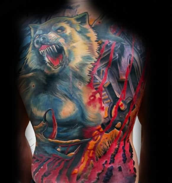 Manly Guys Full Back Wolf Tattoo Designs