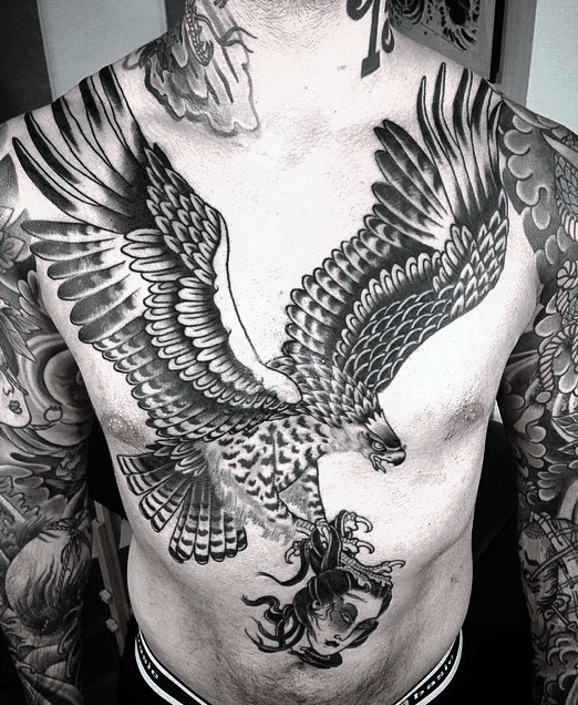 Manly Guys Full Chest Eagle Tattoos
