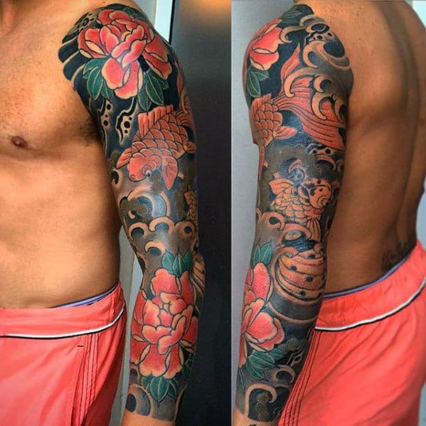 Manly Guys Full Sleeve Japanese Flower And Koi Fish Tattoos