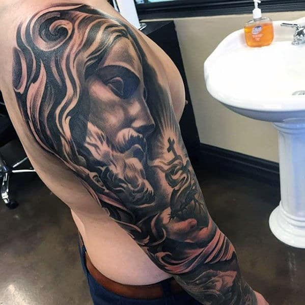 Manly Guys Full Sleeve Jesus Sacred Heart Tattoos