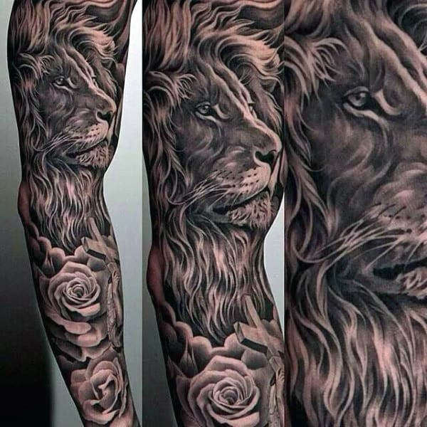 Manly Guys Full Sleeve Lion Tattoos