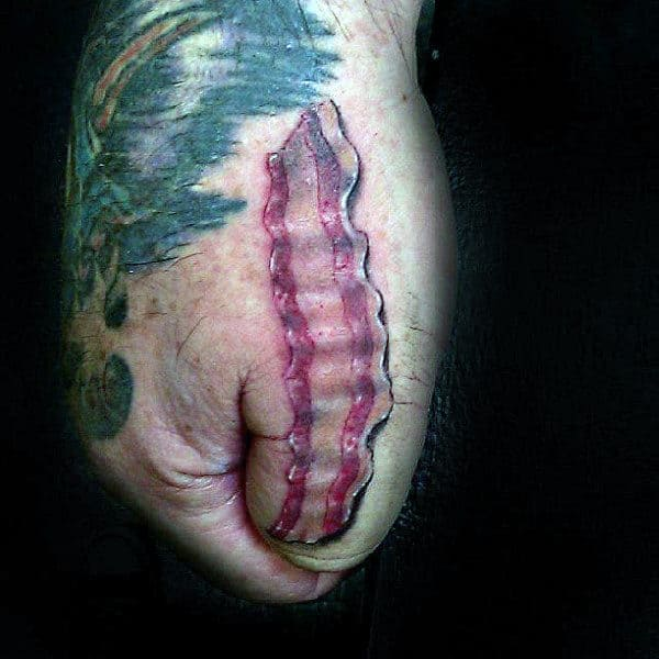 Manly Guys Hands Bacon Tattoo