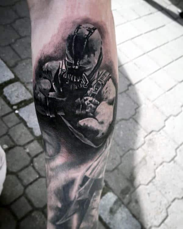 Manly Guys Heavily Shaded Bane Tattoo On Leg Calf