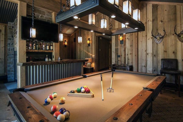 Manly Guys Home Game Room Ideas With Pool Table And Bar