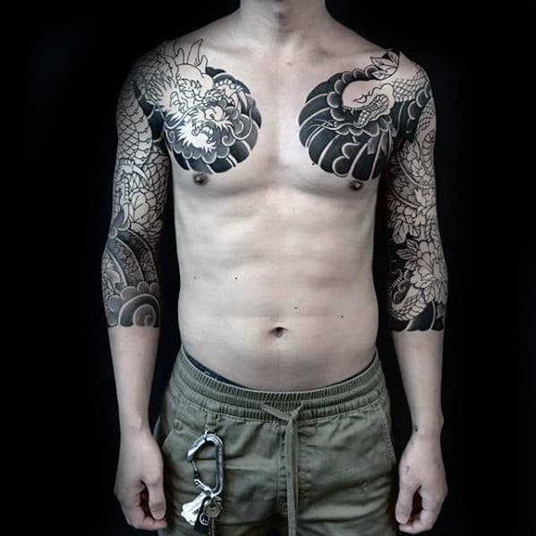 Manly Guys Japanes Both Arms Half Sleeve Dragon Tattoos