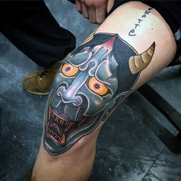 Manly Guys Japanese Demon Hannya Mask Knee Cap Tattoos