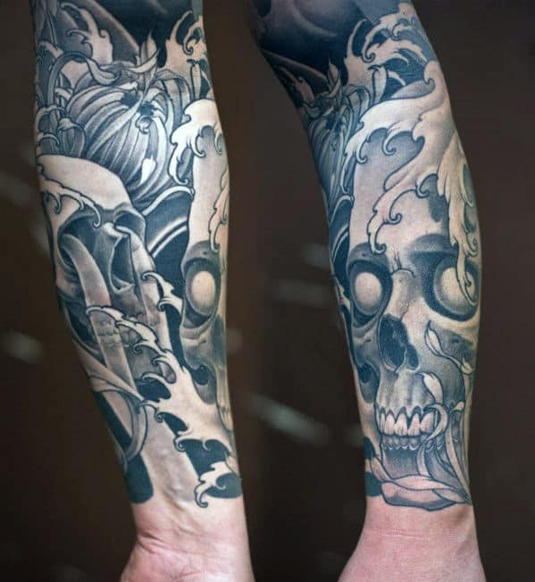 Manly Guys Japanese Forearm Skull Tattoo Sleeeves