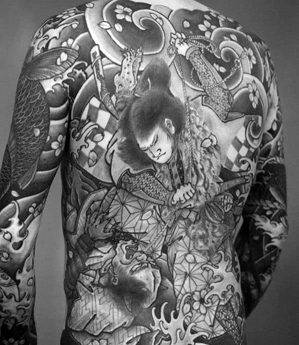 Manly Guys Japanese Shaded Black And Grey Ink Full Back Tattoos