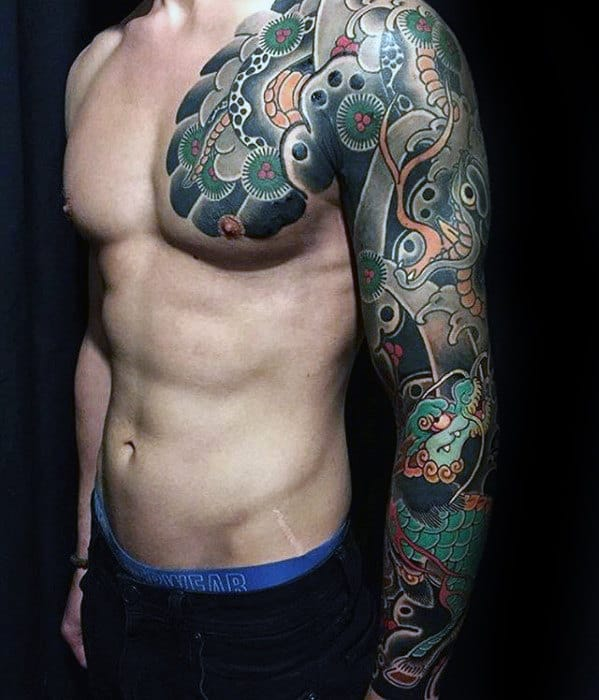 Manly Guys Japanese Upper Chest And Sleeve Tattoos