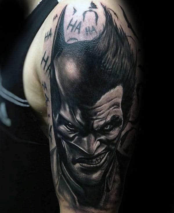 Manly Guys Joker Shaded Arm Tattoo Ideas