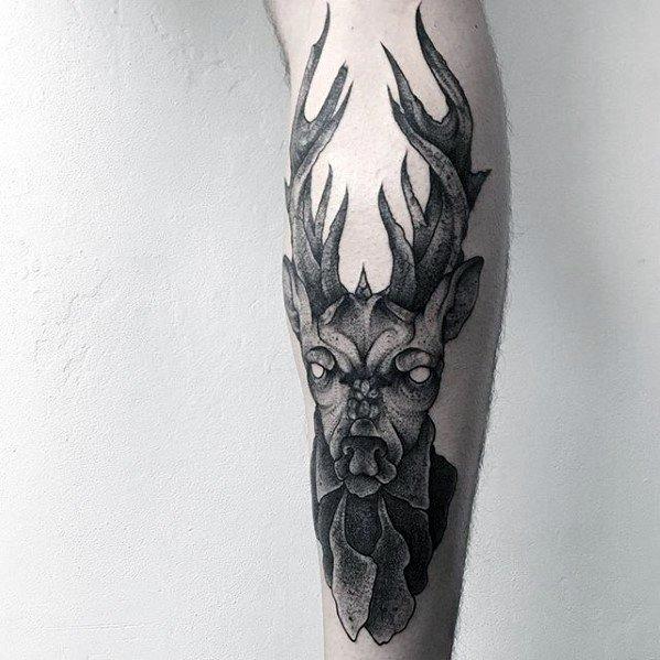 Manly Guys Leg Elk Tattoo Ideas