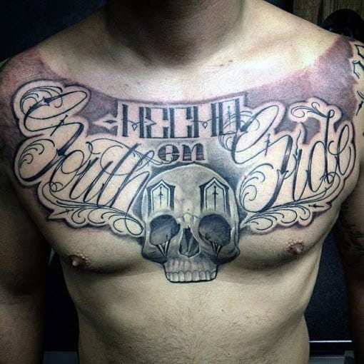 Manly Guys Lettering Skull Chest Tattoos