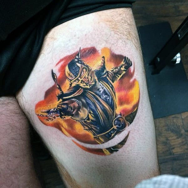 Manly Guys Mortal Kombat Thigh Tattoo Of Scorpion Character