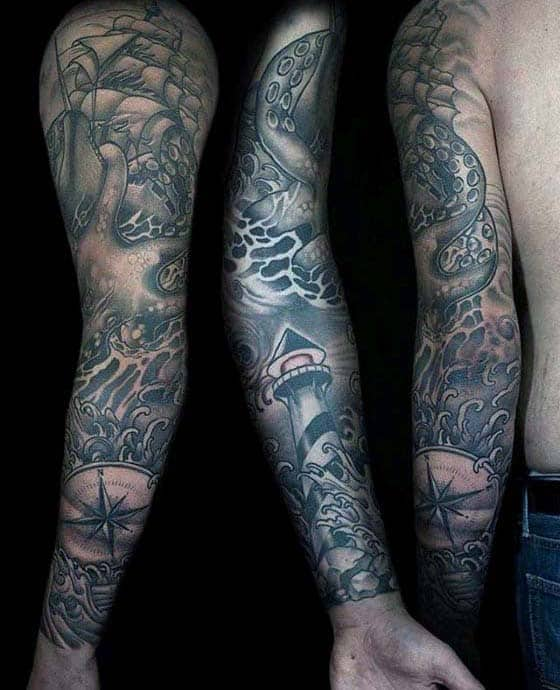 Manly Guys Nautical Full Arm Sleeve Shaded Tattoos