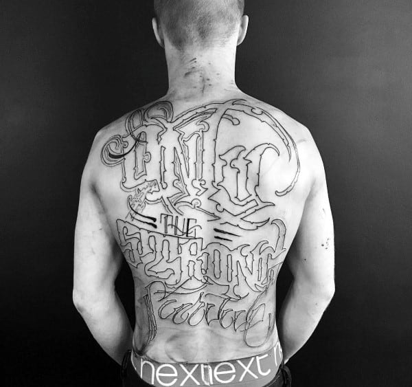 Manly Guys Only The Strong Survive Tattoo On Back