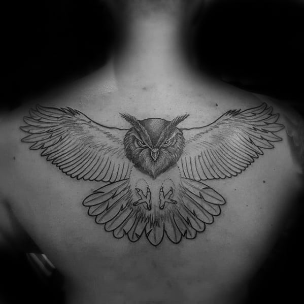 Manly Guys Owl Back Tattoo Design Ideas