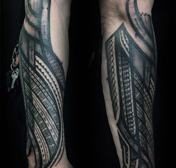 Manly Guys Polynesian Outer Forearm Tattoos