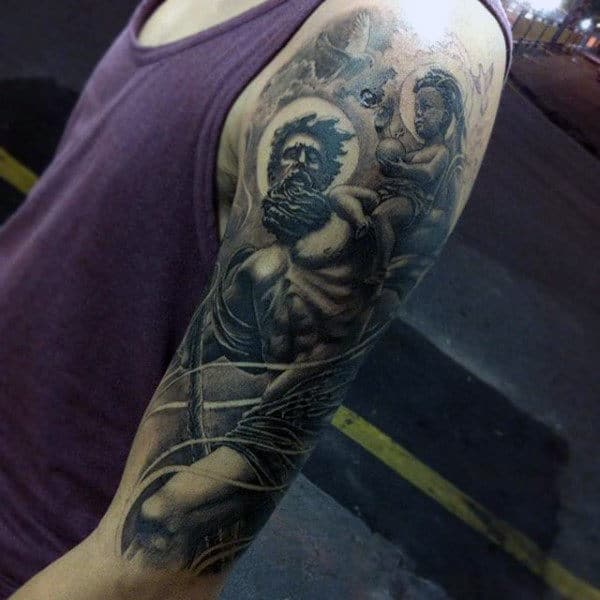 Manly Guys Saint Christopher Half Sleeve Shaded Tattoos
