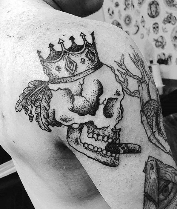 Manly Guys Skull With Crown And Cigar Shoulder Tattoo