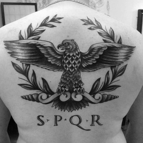 Manly Guys Spqr Back Tattoo Ideas