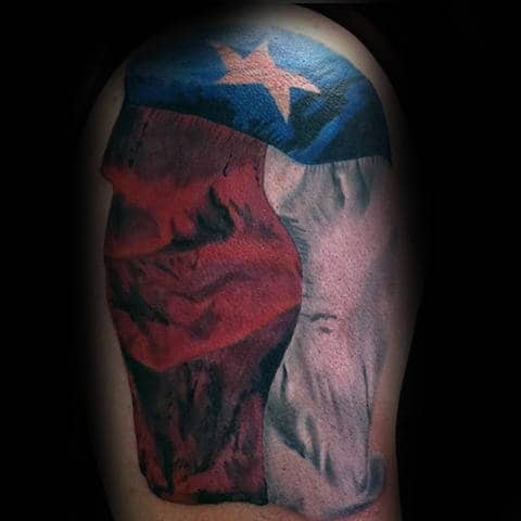 Manly Guys Texas Flag State Arm Tattoo With Red White And Blue Ink Design