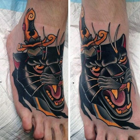 Manly Guys Traditional Dagger Through Jaguar Head Mens Foot Tattoo