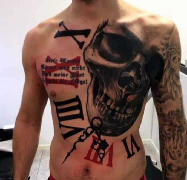 Manly Guys Trash Polka Full Chest Roman Numeral Skull Tattoos With Red And Black Ink