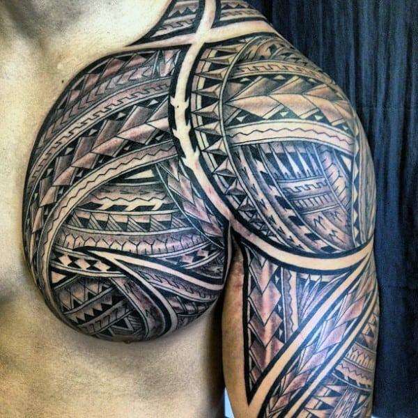 Manly Guys Tribal Polynesian Chest Tattoos