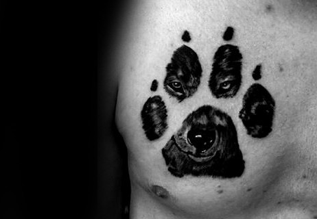 Manly Guys Wolf Paw Chest Tattoos