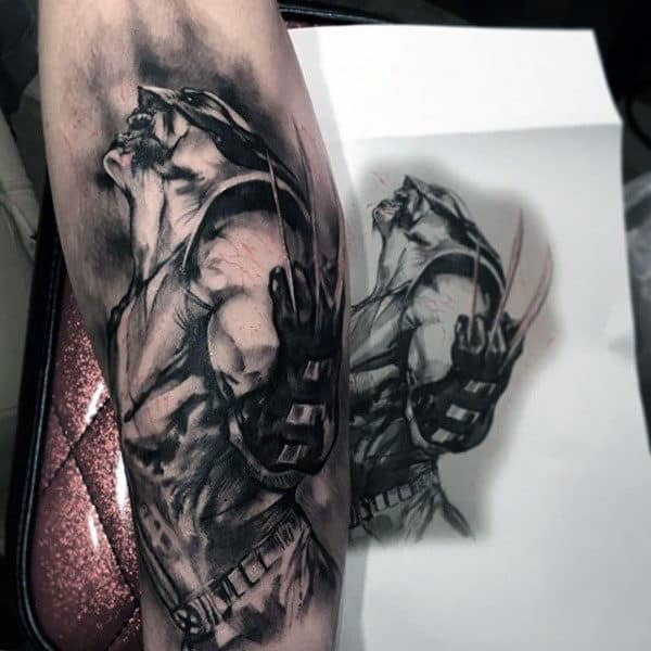 Manly Guys Wolverine Shaded Dark Black And Grey Inner Forearm Tattoo