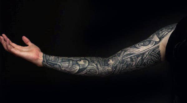 Manly Guys Wood Carving Full Sleeve Arm Tattoos With 3d Design