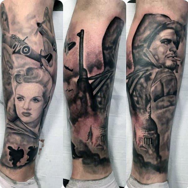 Manly Guys Ww2 Leg Tattoos