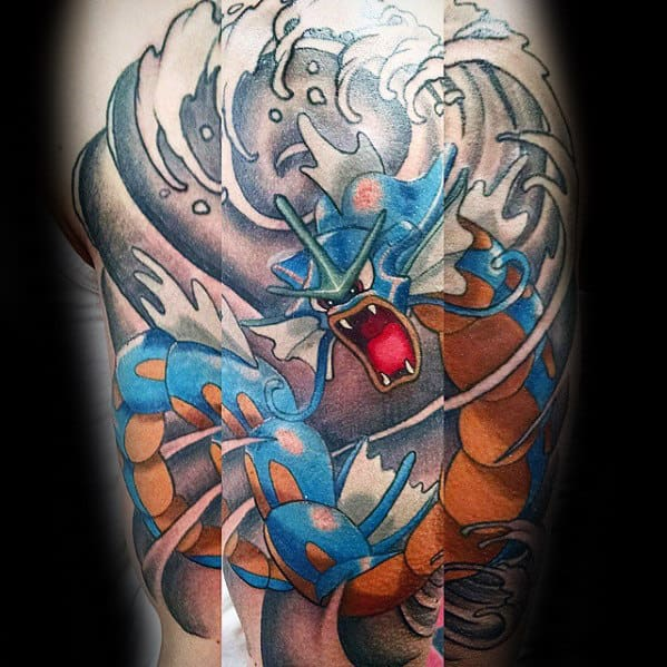 Manly Gyarados Ocean Wave Arm Tattoos For Guys