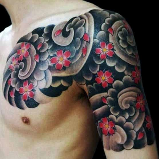 Manly Half Sleeve Cherry Blossom Flowers With Clouds Tattoo For Guys