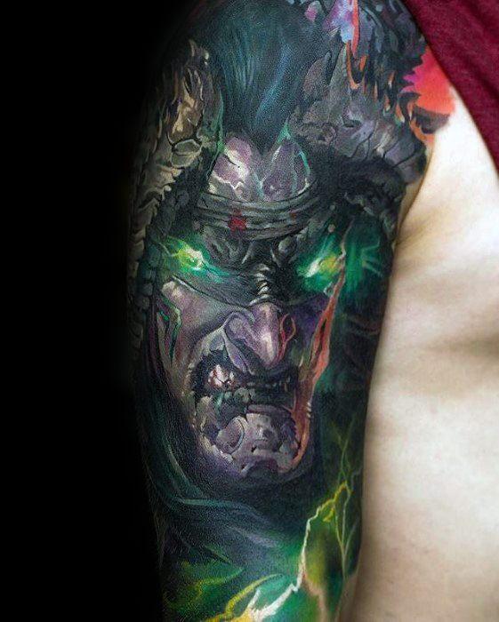 Manly Half Sleeve Gamer Tattoo Design Ideas For Men